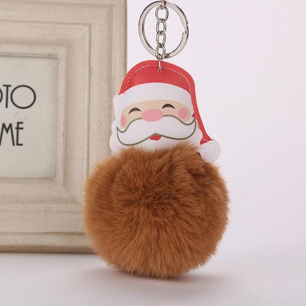Pompom Santa Claus Keychain Faux Fur Ball Key Chain Pompon Porte Clef Fluffy Key Ring Llaveros Chaveiros Llaveros Christmas Gift