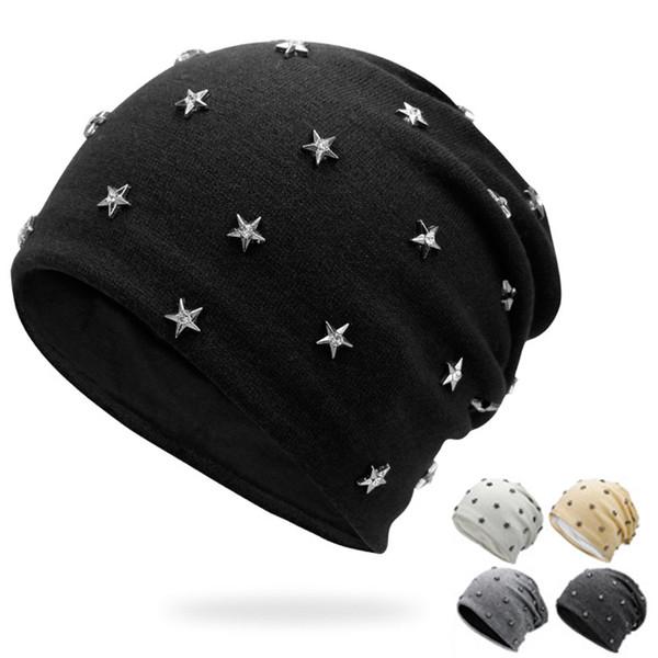 200 ADET / GRUP Unisex Sonbahar Kış Hip Hop Şapka Moda Perçin Bere Cap Erkekler Kadınlar Örme Şapka Skullies CapWomen Örme Şapka Skullies Kap