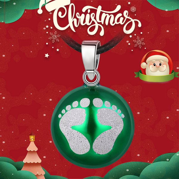 wholesale New 20mm Baby Footprints Necklace Pendant Pregnancy Chime Ball Bola Pendants Wishing Balls Jewelry Christmas Gift N14B224