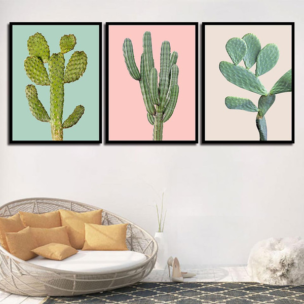 Living Room Bedroom Bedside Home Decor Green Plant Cactus Nordic Watercolor Canvas Painting Print HD Picture Poster Wall Art