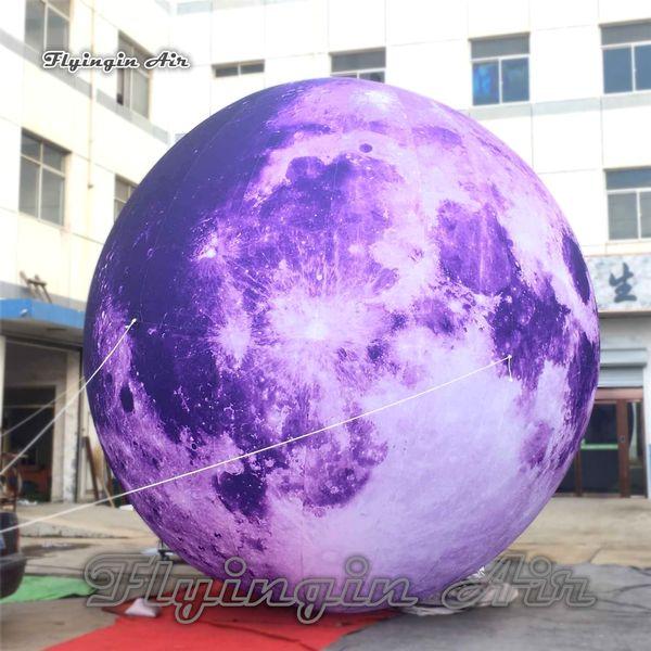 Personalizado Iluminação Inflável Balão Do Partido de Suspensão / Terra Planeta 3 m / 6 m de Diâmetro Roxo Lua Para Concerto E Decoração do Clube Noturno
