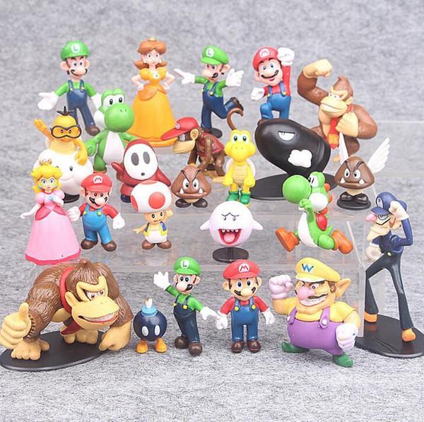 3-7cm Super Mario Bros PVC Action figures Toys Yoshi Peach Princess Luigi Shy Guy Odyssey Donkey Kong Model Dolls 22Pcs/Set