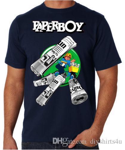 Paperboy 80's Arcade Game Retro Gamer Console Video Game Fun Blue T Shirt Tee Shirt For Men Homme Short Sleeve Crewneck Cotton XXXL Gro