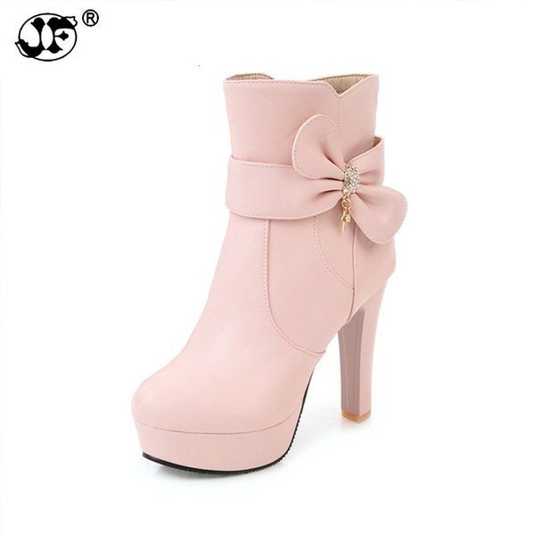 Large Size 32-45 Platform Sweet Bow Women Shoes Fashion High Heels Pink Black White Ankle Boots Winter Footwear Lady753