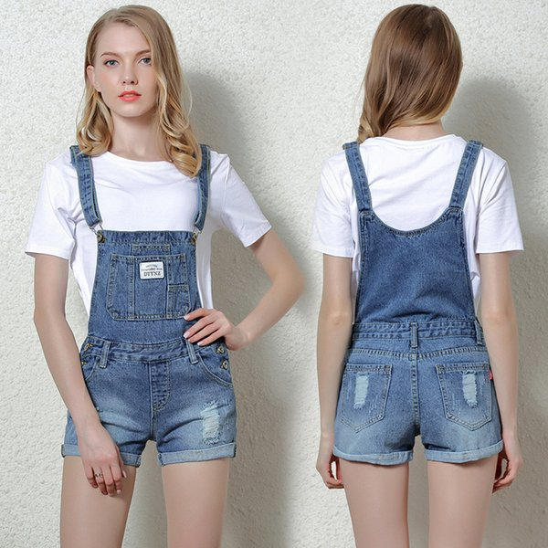 Holes jeans Overalls Women Denim Playsuit Straps Shorts Romper Casual Overalls Shorts lady Playsuit Female 2019