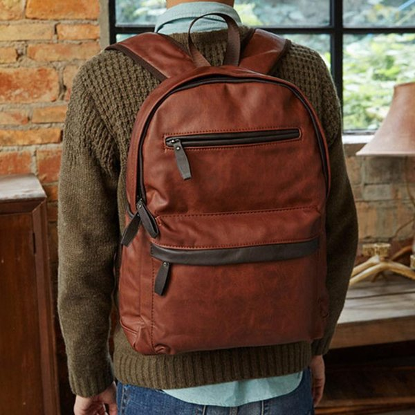 2018 mode vintage designer hochwertigem leder rucksack männer schule notebook laptop tasche reiserucksack teenager männlich