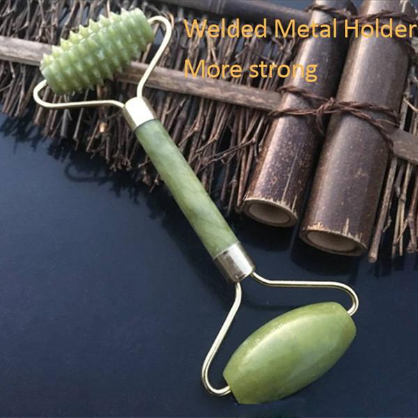 JD004 Rullo di massaggio facciale naturale Aumentare la circolazione sanguigna Rullo di giada Rilassamento Strumento snellente Solido Jade Stone Face Body Head Neck