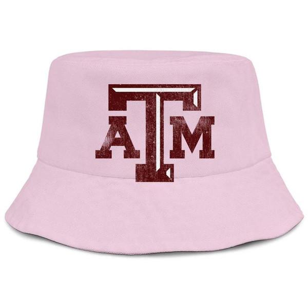 Texas AM Aggies calcio vecchio Logo stampa donne rosa pesca secchio cappello da sole design design Carino meglio personalizzato secchio suncap