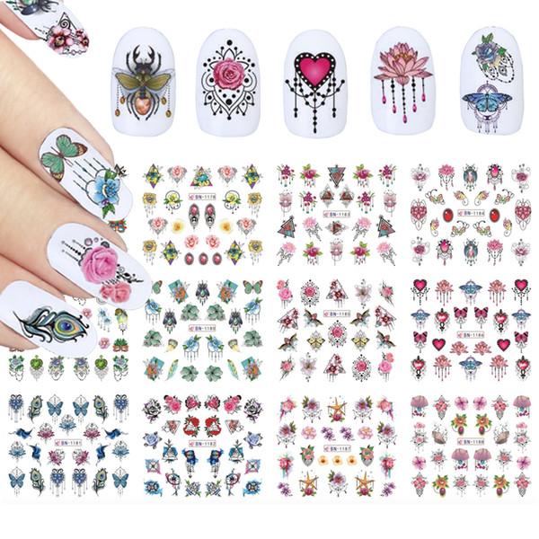 Bijoux Fleurs Nail Art Décorations Autocollants Animaux Insect Stickers Curseurs De Transfert D'eau Tatouage Wraps Nail Design TRBN1177-1188