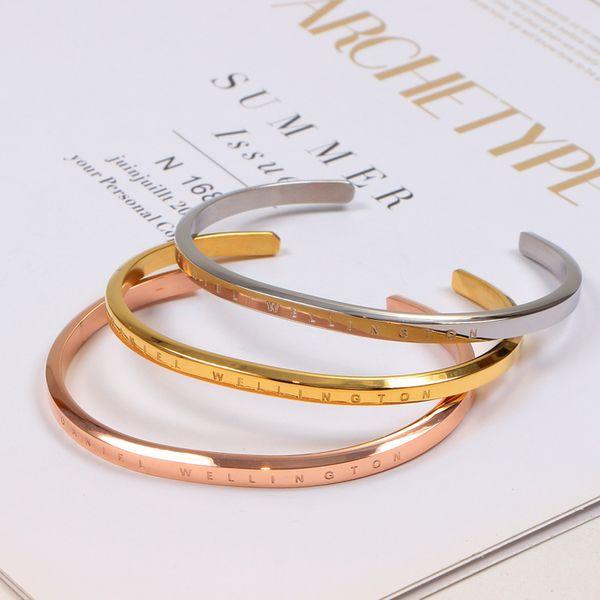 Herren DW Armbänder Rose Gold Silber Stulpearmband Edelstahl Armband Luxus Designer Schmuck Damen Armbänder
