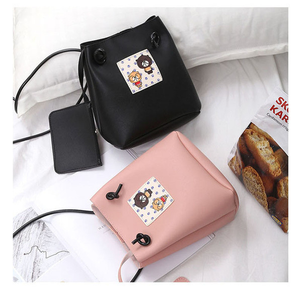 Fashion Women Casual Strap Bucket Bag Cute Girl Pu Leather Cartoon Pattern Shoulder Bags With Mini Coin Card Pouch Popular good quality