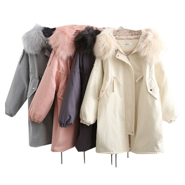 Invierno nueva versión grande de manga larga suelta cuello largo de piel abrigo largo chaqueta con cremallera ropa de algodón