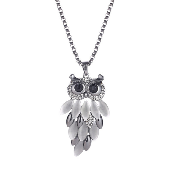 Vintage Charming Bordered Alloy Opal Owl Pendant Necklace For Women choker Lady Girls Owl Pendant Long Chain Sweater Necklace