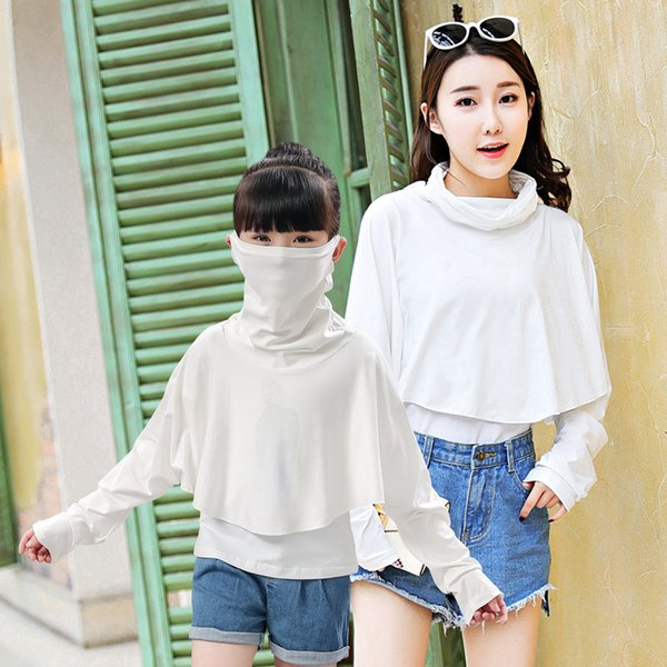 2018 New Arrival Sun Protection Ice Goddess Mask Cape Pure Color Parent-child Outdoor Sun Shading Beach Tourism