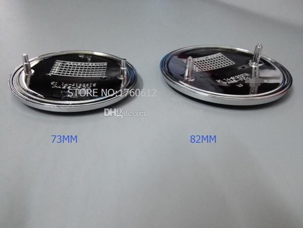 top popular Car Styling 100pcs 82mm 73mm Blue Black 2 Pins Car Emblem Chrome Front Badge Logo 82mm Hood Trunk Series 1,3,5,6,7,X 2021