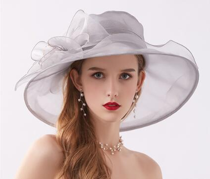 2019 spring and summer ladies hat retro flower mesh light thin sunshade hat organza sun protection sun hat