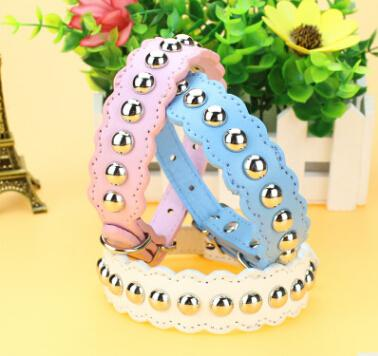 Mushroom Nail Dog Collar Wave Pattern Pet Necklace Fashion Rivet Small Dog Cat Collars Lovely Puppy Teddy Necklaces