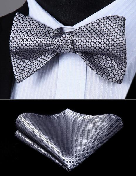 Fliege Taschentuch Set Männer gewebt Silber Check selbst Fliege Einstecktuch Schmetterling Seide Set #