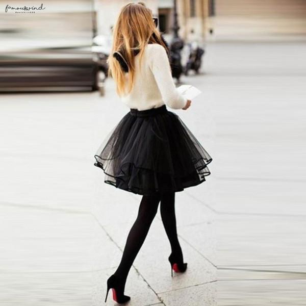 Short Mini Puffy Black Tulle Skirt Ruffles Fashion Sexy Tutu 62 Midi Elastic Waist Skirt Puls Colours Size Solid 2019