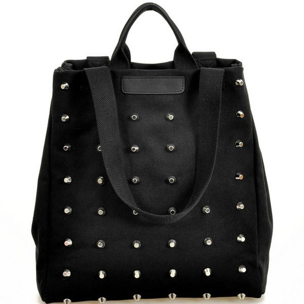 2019 Free Shipping Fashion Unique Punk Women Canvas Handbags Vintage Rivet Top-handle Shoulder Bag Tote Black Ladies Shopper