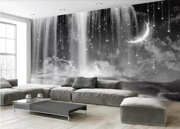 Black And White Waterfall Starry Sky Background Modern Living Room  Wallpapers Hd Wallpapers Hd Hd Wallpapers Hd Wallpapers From  Yiwukuangdu1688, ...
