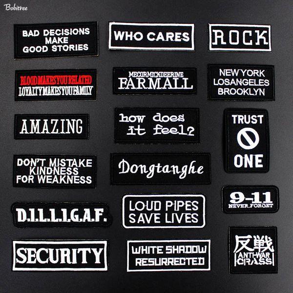 Punk Black White Words Slogan Patch per stoffa Ricamato il ferro sull'etichetta adesiva Badge per jeans giacca Decorazione fai da te