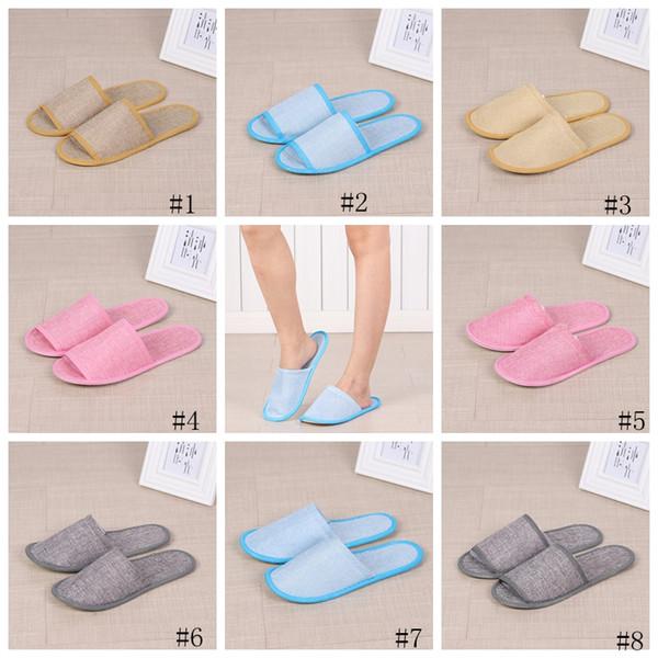 8 styles pantoufles jetables hôtel SPA maison Guest Shoes anti-slip pantoufles de lin coton confortable respirant doux pantoufle unique GGA2650