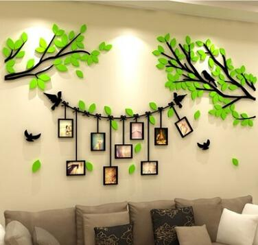 Acrylic Photo Frame Tree Wall Stickers 3D Photo Tree Wall Sticker Creative Living Room TV Background Wall Decal Home Decoration