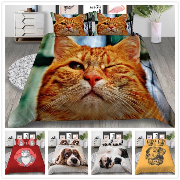3D Print Lovely Animals Bedding Set Single Double King Size Dog Cat Duvet Cover Set 2/3pcs Gift for Kids Comforter Cover Set
