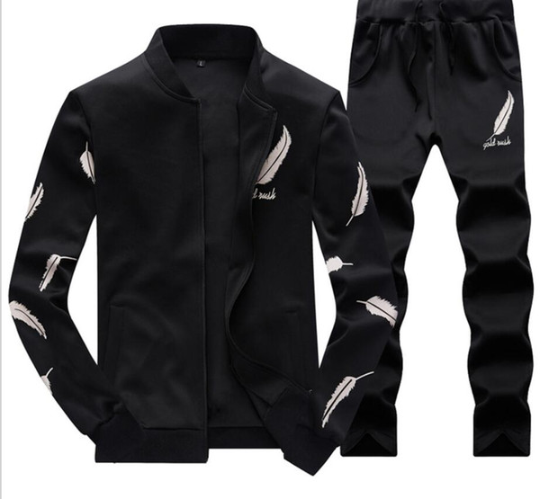 Mens Baseball Jacket Pants Survêtements Sports Adolescent Vêtements Ensembles Fashion Plume Conception Imprimé