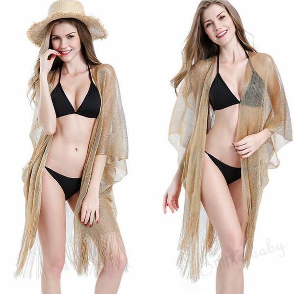 Neue Sommer Frauen Mädchen Beachwear Bikini Cover Up Gold Schwarz Bluse Sommer Top Transparente Quasten See-through Strand Baden Weiche