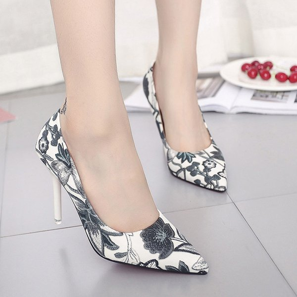 2019 Dress Woman Slip On Shoes Fashion Leaves Printing Ladies Sexy Stiletto Female Floral Thin Women High Heels Party Dress Pumps