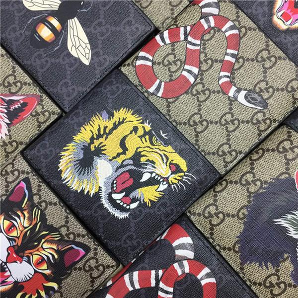 Designer Tote Wallet Echtes Echtes Leder Luxus Männer Kurze Geldbörsen für Frauen Männer Schlange Biene Tiger Wolf Geldbörse Clutch mit Box z4131