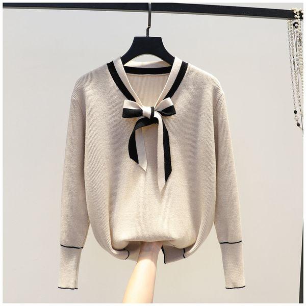Fashion-por mayor venta al por mayor solamente Primavera nuevo estilo dulce suéter arco temperamento salvaje suéter de fondo suéter superior envio por paquetes