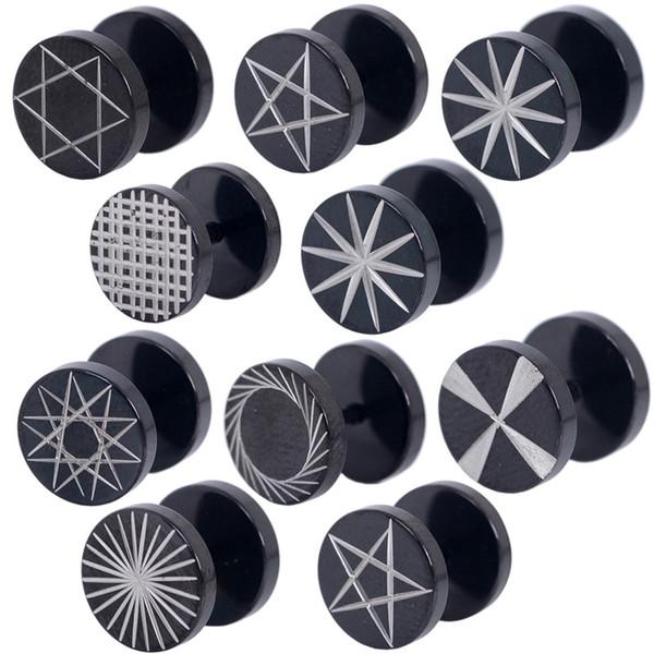 50 unids Negro Expansión de Oído de Acero Inoxidable 8-10mm Varios Estilo Túneles Patrón de Moda Pendientes Joyería Piercing Del Cuerpo Para las mujeres
