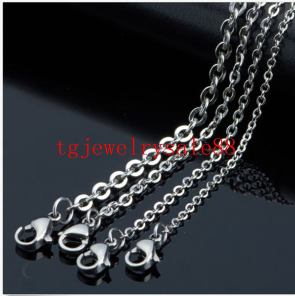 1.5/2/2.4/3mm 100pcs/lot Stainless Steel Silver Cross Chain Men Necklace Finding Pendant Diy Wholesale Jewelry 16-40inch J190616