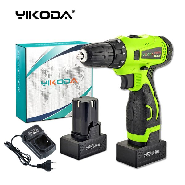 top popular 25V Cordless Drill Battery Electric Screwdriver Home DIY Room Decoration Rechargeable Electric Drill Two Lithium Battery Carton 2021