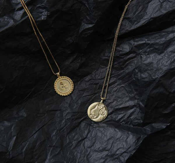 2019 Summer Fashion yellow gold plated Pendant Necklace hand stamped Necklace Cute Rose coin Engraved necklace for women girl jewelry