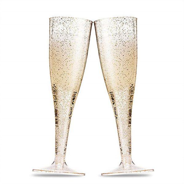 Altın Glitter Plastik Şampanya Flüt Temizle Plastik Kızartma Kadeh Tek Kullanımlık Düğün Parti Kokteyl Bardak Doğum Günü Partisi Mutfağı Fincan