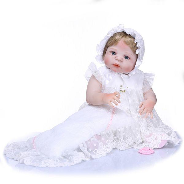 Bebe Reborn Handmade Real 57CM Full Body SIlicone Girl Reborn Babies Doll Girl Bebe Doll Reborn Menina de Silicone Toys
