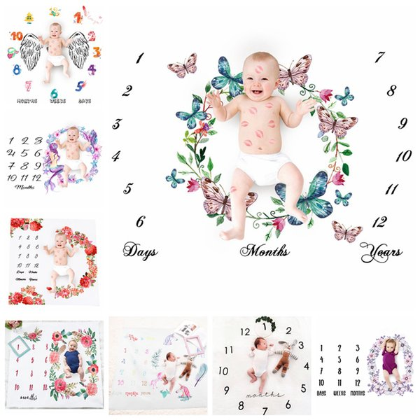 Neonato Fotografia Sfondo Puntelli Baby Foto Fondali Coperte Infantili Wrap lettera Fiore Numeri Stampa Panno 13styles RRA1537