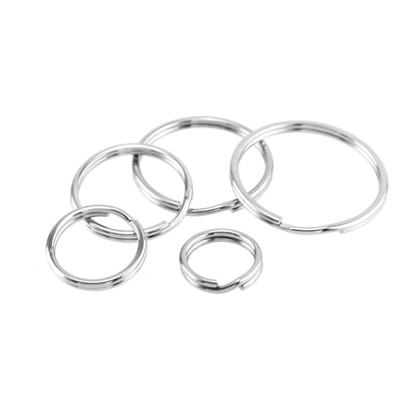 Stainless steel base keychain diameter 10mm/12mm/15mm/18mm stainless split ring 20mm wholesale 10pcs