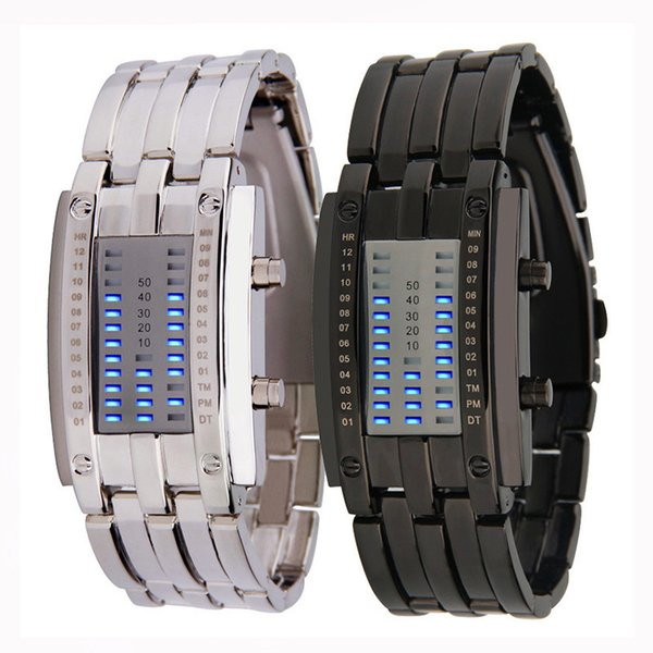 Nouveau commerce extérieur Lava Iron Man montre en acier tungstène hommes binaire double ligne veilleuse calendrier LED Coupler électronique montre