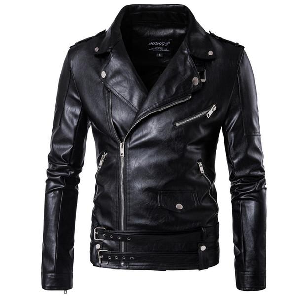 Motorcycle Bomber Leather Jacket Male Autumn Winter Turn-down Collar Coats Slim fit Men's Black Jacket Plus Size M-5XL