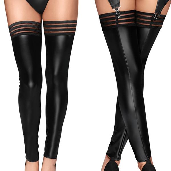 Plus Size PU Frauen Strümpfe sexy Kniestrümpfe Leder Oberschenkel hoch lange elastische Catsuit Latex Strumpfhosen Nachtclubs tragen Leggings