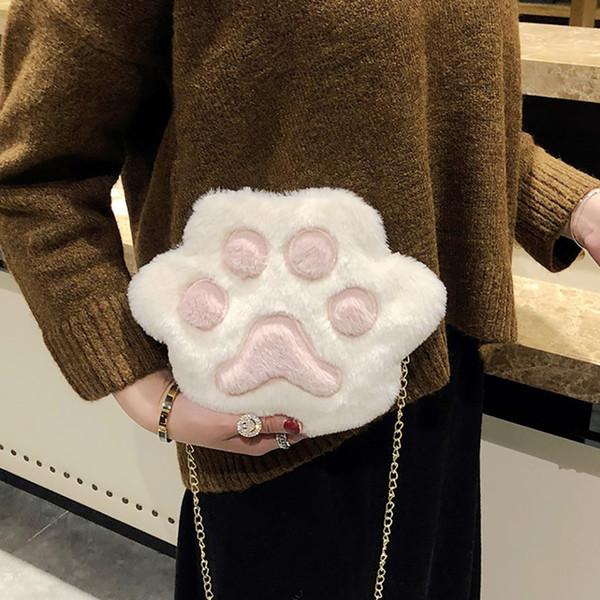 Peluche del fumetto delle donne sacchetto del messaggero Cute Cat Claw Fluffy spalla Bag ragazze invernali Borse borsa del telefono Donna dolce Crossbody Borse