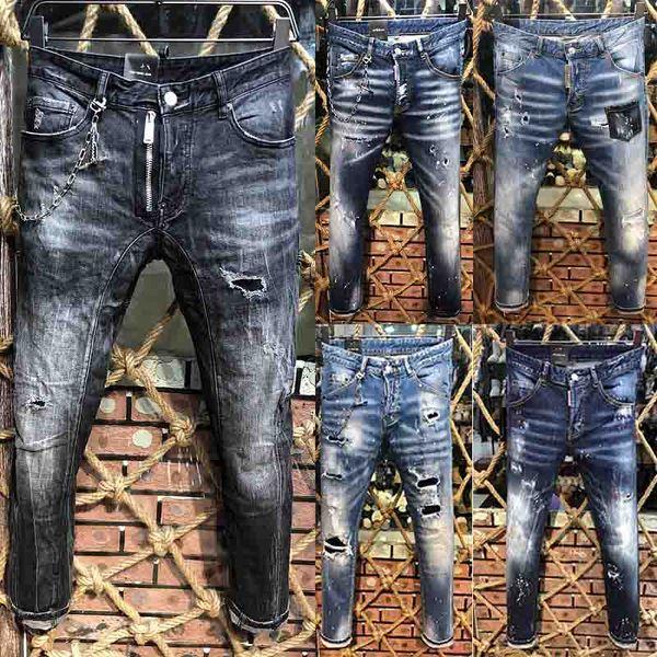2019 Nuovo FAMOSO Fashion Designer Distressed Jeans strappati Jeans Moto Biker Jeans HOLE Denus Pantaloni Streetwear uomo Jeans