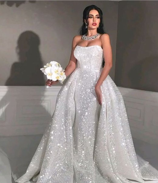 Sparkly Detachable Train Mermaid Wedding Dresses White Sequined Glitter Strapless Arabic Dubai Bridal Gowns Plus Size Custom Made New 2019