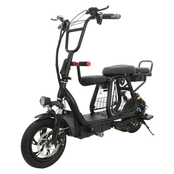 top popular Two Wheel Electric Scooter 12 Inch Electric Bicycle 400W 48V Adults Folding Portable Powerful Electric Bike With Pet Basket 2020