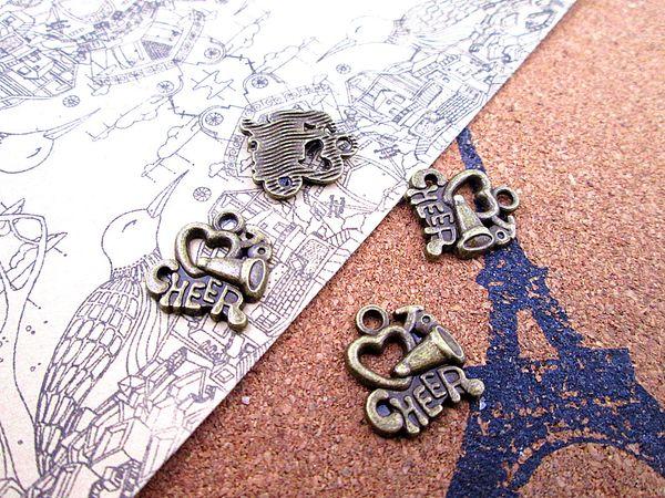 60pcs--I love to cheer charms, bronze tone Cheerleader Megaphone Charm pendants Cheerleading 16x18mm